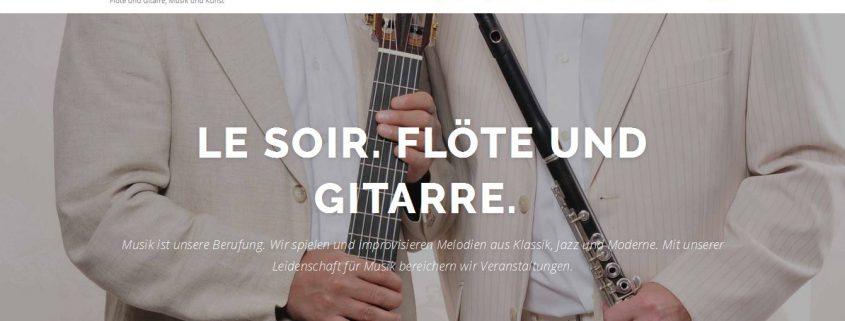 Der neue Internetauftritt von Duo Le Soir: Flöte und Gitarre.